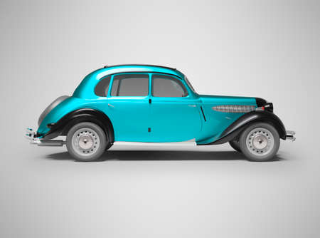 3D rendering classic retro car blue on gray background with shadow