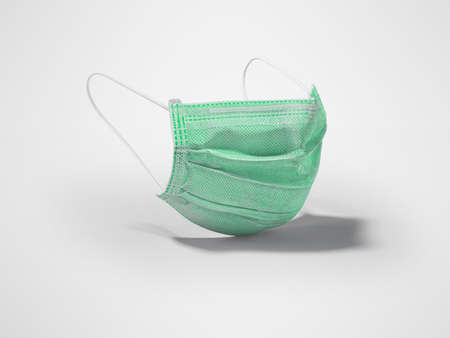 3d illustration green medical mask isolated on gray background with shadow