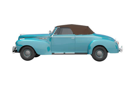 3d rendering blue classic convertible leather car side view isolated on white background no shadow