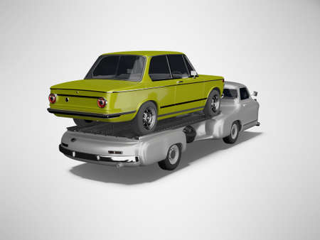 3d rendering concept tow truck transports car on gray background with shadow