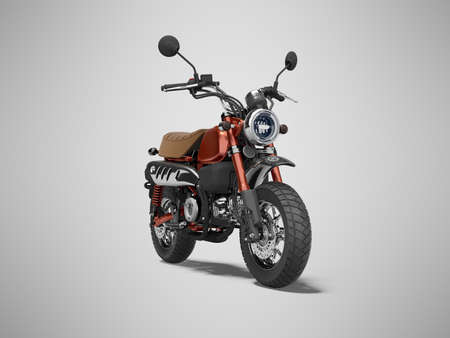 3d rendering red motorcycle isolated on gray background with shadow