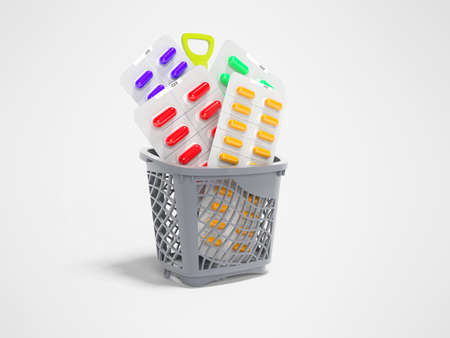 3d rendering concept vitamins in pills in basket on gray background with shadow