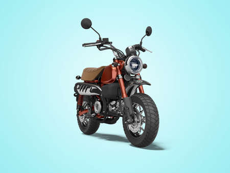 3d rendering red motorcycle isolated on blue background with shadow