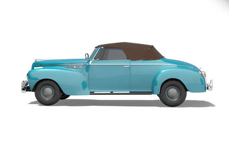 3d rendering blue classic convertible leather car side view isolated on white background with shadow
