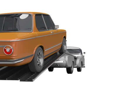 3d rendering concept of loading car on tow truck isolated rear view on white background no shadow