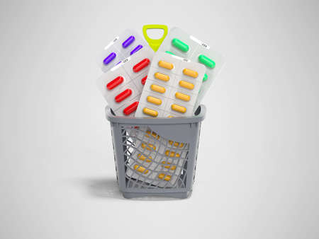 3d rendering concept vitamins in capsules in basket on gray background with shadow 写真素材