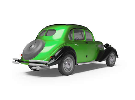 3d rendering of classic green passenger car on white background with shadow back view
