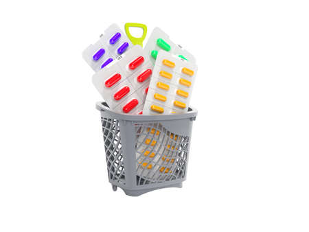 3d rendering concept vitamins in pills in basket on white background no shadow