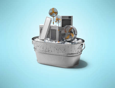 3d rendering concept of room air conditioning and cooling devices in ice bucket isolated on blue background with shadow 写真素材