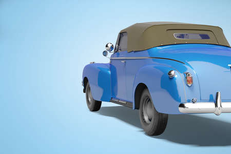 3d rendering blue car with roof with leather back view on blue background with shadow
