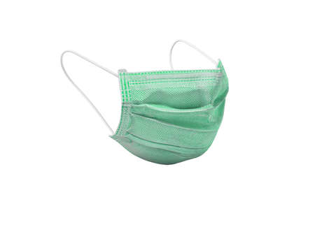3d illustration green medical mask isolated on white background no shadow