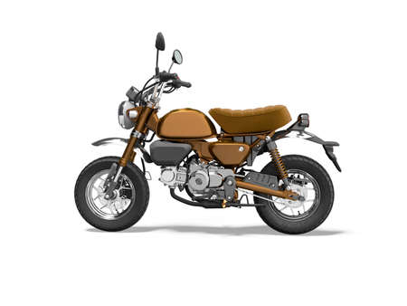 3d rendering brown motorcycle left view on white background with shadow 写真素材