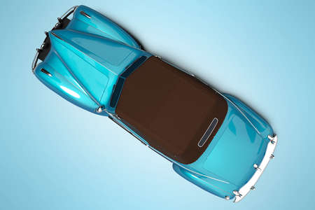 3d rendering blue car with soft roof with leather top view isolated on blue background with shadow