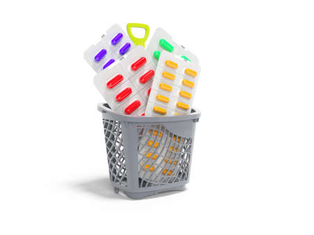3d rendering concept vitamins in pills in basket on white background with shadow