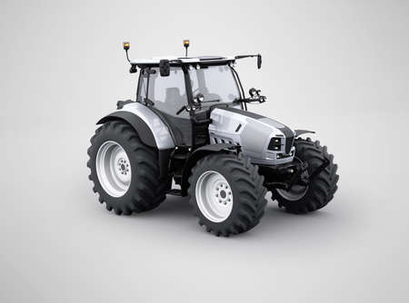 3d rendering tractor for plowing soil isolated on gray background with shadow