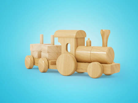 3d rendering wooden kids train with toy trailer on blue background with shadow 免版税图像