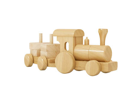 3d rendering wooden kids train with toy trailer on white background no shadow 免版税图像