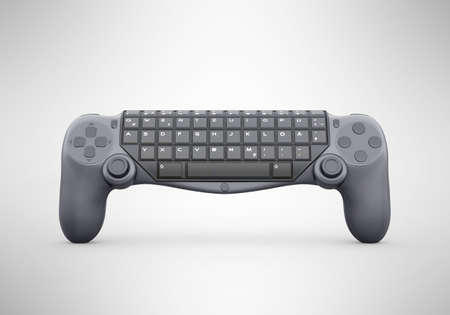 3d rendering of joystick keyboard on gray background with shadow 免版税图像