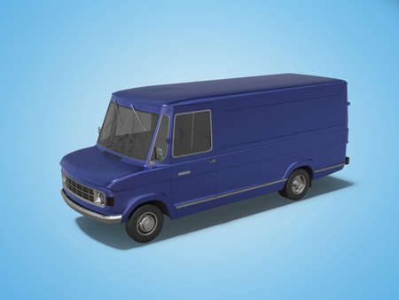 3d rendering blue cargo minivan on blue background with shadow