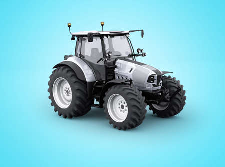 3d rendering tractor for plowing soil isolated on blue background with shadow