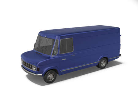 3d rendering blue cargo minivan on white background with shadow