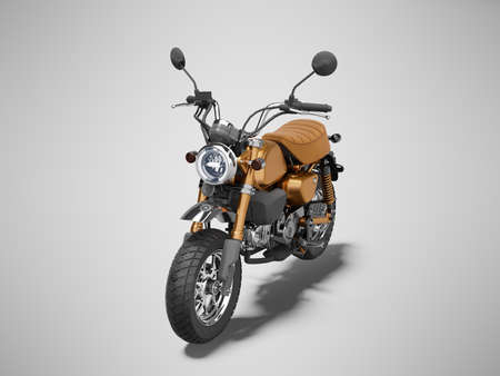 3d rendering brown motorcycle isolated on gray background with shadow 免版税图像