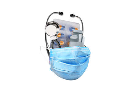 3d rendering group set vaccine medical mask stethoscope on white background no shadow 免版税图像