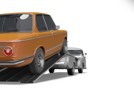 3d rendering concept of loading car on tow truck isolated rear view on white background with shadow