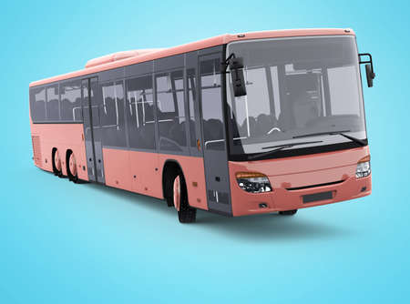 3d rendering long travel bus turns on blue background with shadow