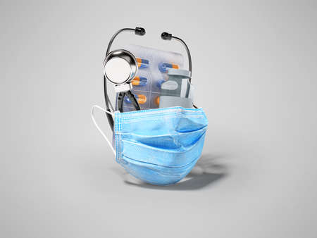 3d rendering group set vaccine medical mask stethoscope on gray background with shadow 免版税图像