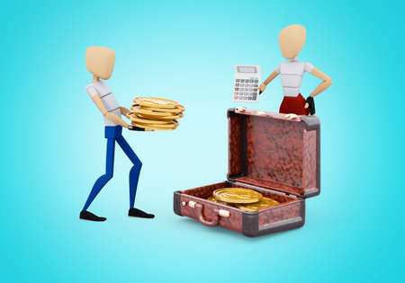 3d rendering concept family collects money in suitcase on blue background with shadow 免版税图像