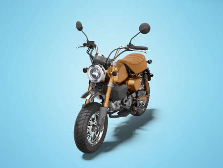 3d rendering brown motorcycle isolated on blue background with shadow 免版税图像