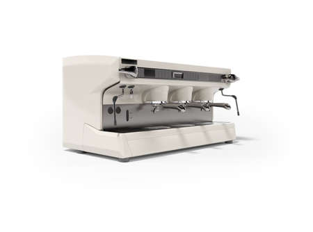 Marble professional coffee machine isolated 3d render on white background with shadow 免版税图像
