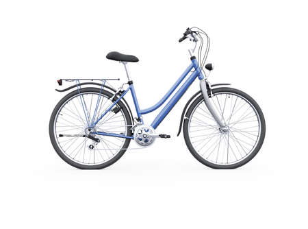 3d rendering isolated bike with trunk from the back on white background with shadow 免版税图像