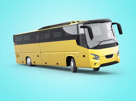 3d rendering yellow long travel bus turns on blue background with shadow