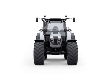 3d rendering tractor front view isolated on white background with shadow