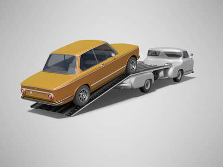 3d rendering concept of loading car on tow truck on gray background with shadow