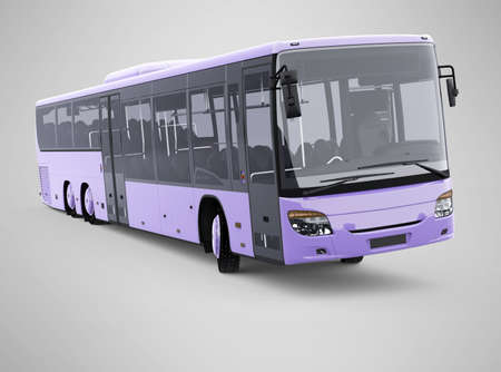 3d rendering long travel bus turns on gray background with shadow 免版税图像