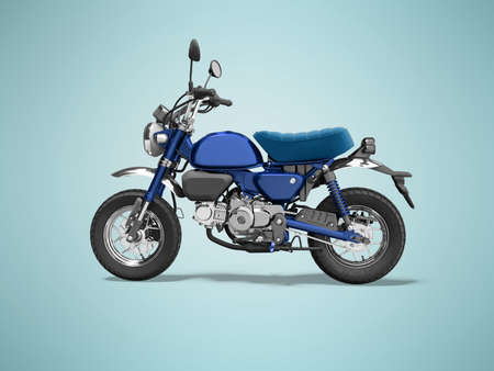 3d rendering blue motorcycle isolated on blue background with shadow