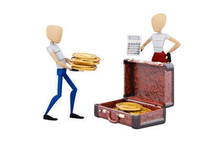 3d rendering concept family collects money in suitcase on white background no shadow