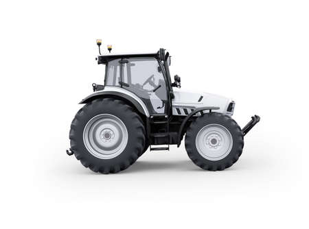 3d rendering tractor side view isolated on white background with shadow 免版税图像