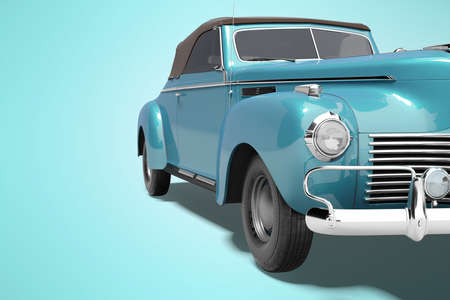 3d rendering of retro blue car with roof with leather on blue background with shadow