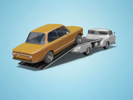 3d rendering concept of loading car on tow truck on blue background with shadow 免版税图像