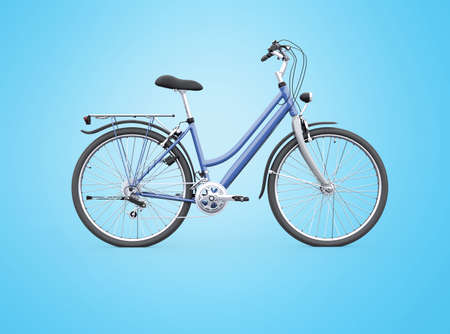 3d rendering isolated bike with trunk from the back on blue background with shadow