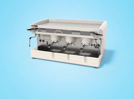 Marble professional coffee machine 3d render on blue background with shadow