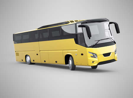 3d rendering yellow long travel bus turns on gray background with shadow