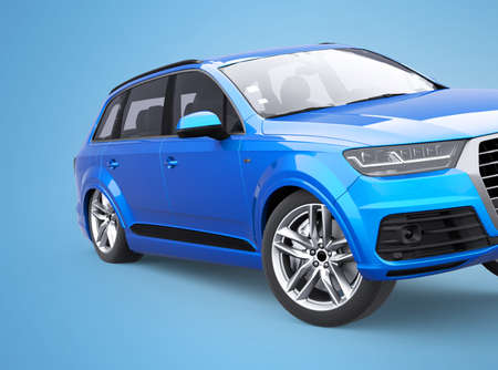 3d rendering blue car skid concept on blue background with shadow