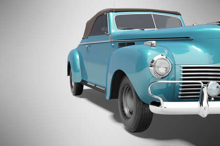 3d rendering of retro blue car with roof with leather on gray background with shadow
