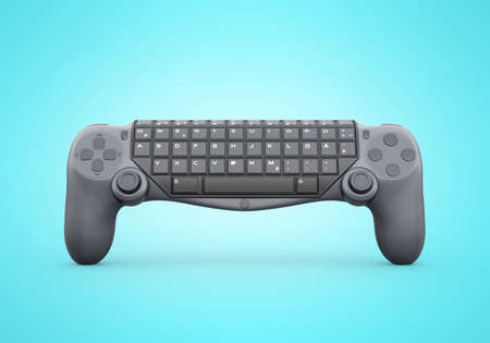 3d rendering of joystick keyboard on blue background with shadow