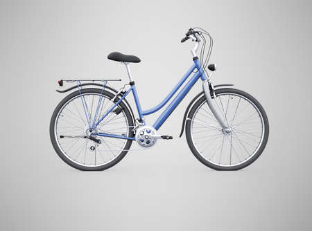 3d rendering isolated bike with trunk from the back on gray background with shadow
